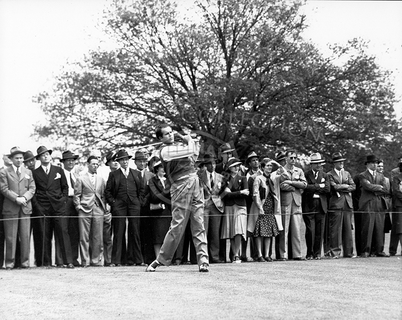 Ralph Guldahl teeing off at the 1934 U.S. Open.