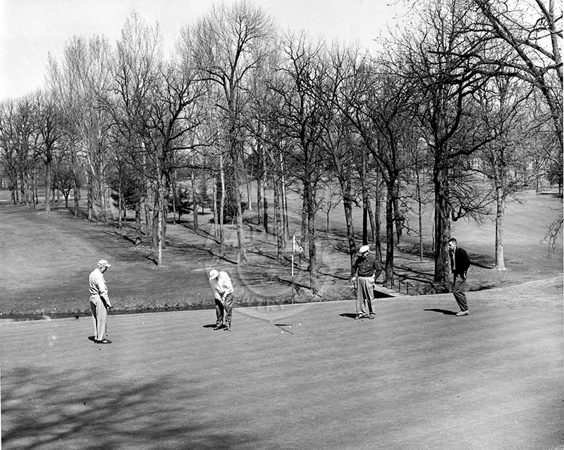 9th hole on Course No. 1, viewed with four golfers. B & W dated April 11, 1961.