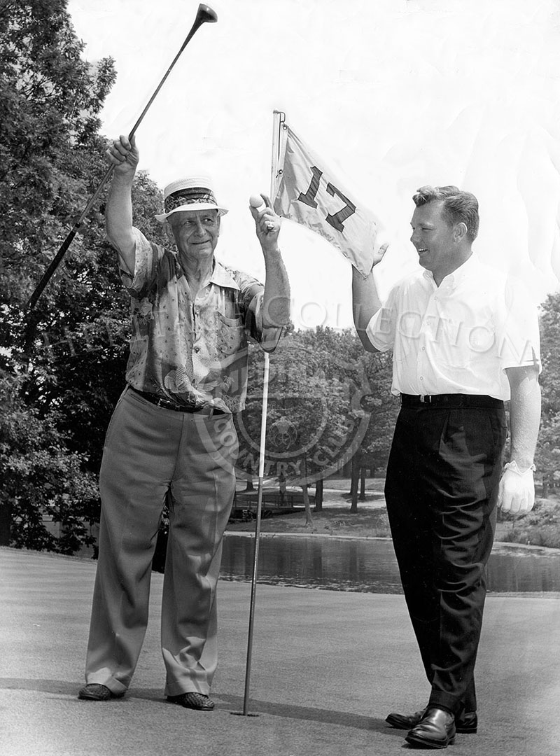 Jim Lagels hole-in-one on 17th hole. Lagels was the oldest member of the club at the time. Includes note from Jack Bell to Wally.
