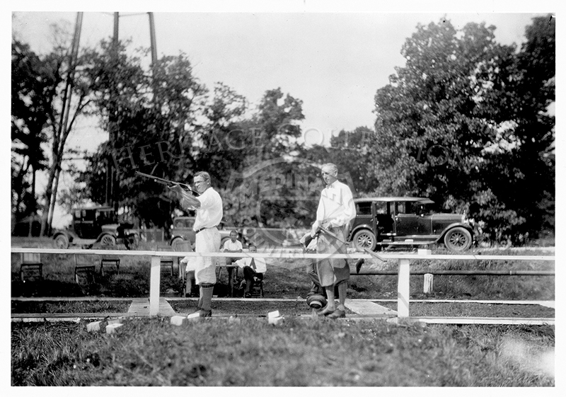 Two men shooting at clay pigeons, with vintage automobiles in background. The gun club has been a part of the fall and winter activities at Medinah since Dec.26, 1925. One 5x7-inch & two 8x10-inch black and white prints are archived.