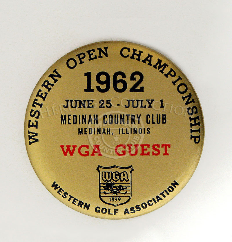 Gold-toned WGA Guest pin for the 59th Western Open tournament in 1962.