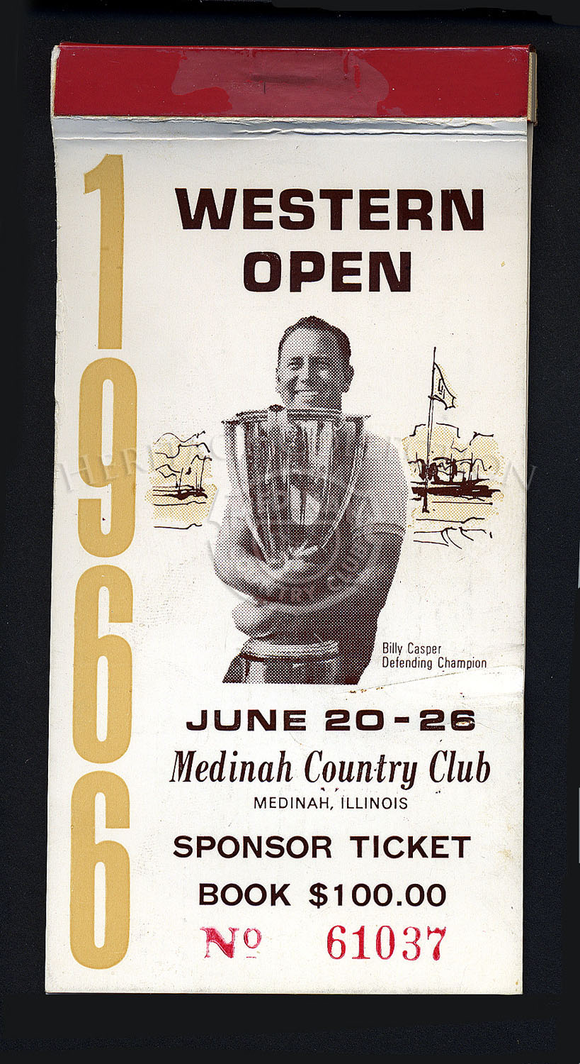 Billy Casper, defending champion, was pictured on the cover of the 63rd Western Open Sponsor Ticket Book. No tickets inside.
