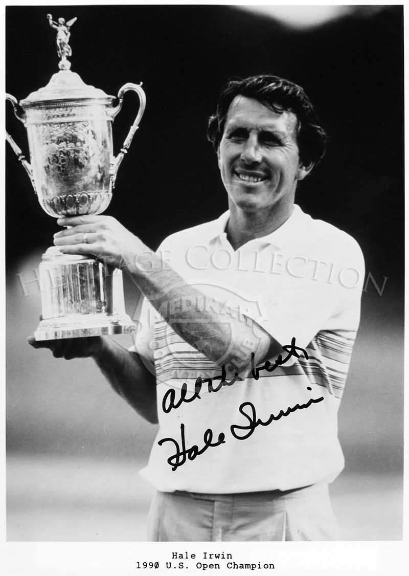 Hale Irwin signed this black and white print, which shows him hoisting up the U.S. Open Trophy, after winning the 90th U.S. Open Championship. Irwin battled Mike Donald in the playoff round that took place on June 18, 1990. The autograph photo came with a Certificate of Authenticity.