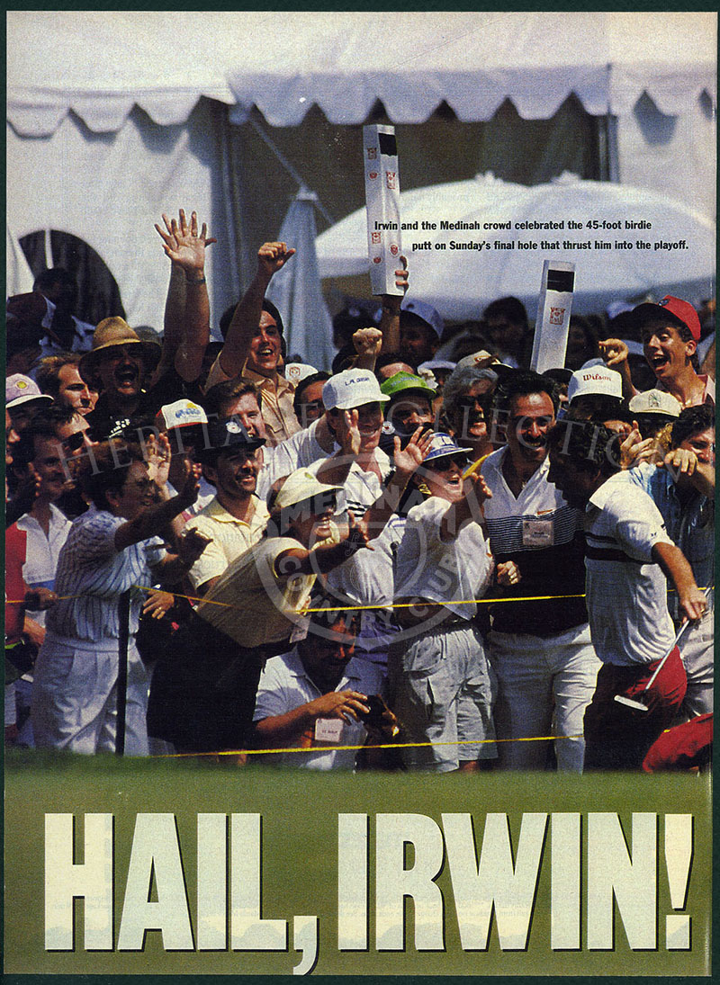 Hail, Irwin magazine page on posterboard. Showing Irwin at Medinah CC.