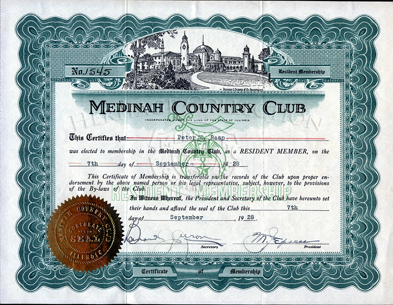 Resident Membership Certificate No. 1545 for Peter H. Raap, dated 1928.