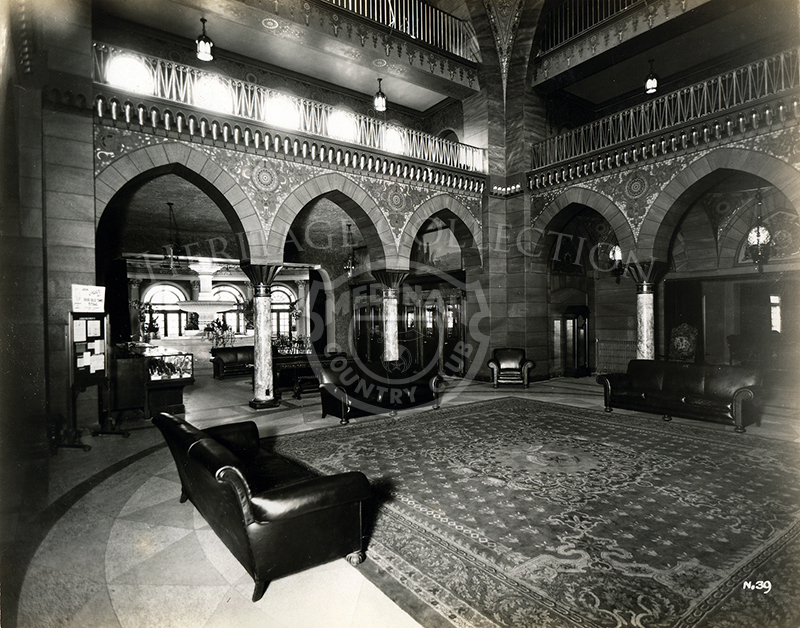 Interior view of Medinah Country Club, circa 1920s.