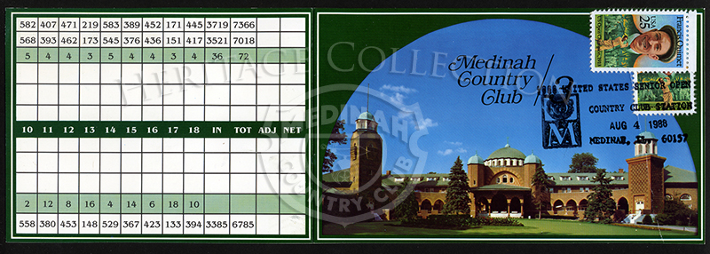 Front and rear covers for the Ninth U.S. Senior Open Championship score card. The 25 cent stamps featured the portrait of Francis DeSales Ouimet, the first amateur to win the U.S. Open (1913). During his life, he won other tournaments and major champions