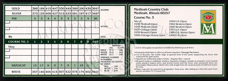 Inside of score card for Ninth U.S. Senior Open Championship.