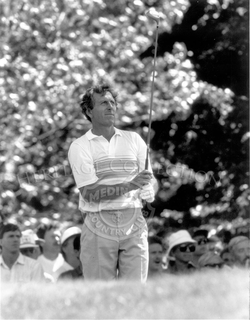 On the way to his third U.S. Open victory, Hale Irwin watches with confidence as he drives a golf ball down the fairway. He was competing in the 18-hole playoff round against Mike Donald on Monday, August 18, 1990.