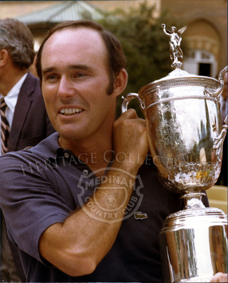 Lou Graham holds up the U.S. Open trophy after winning the playoff at Medinah on Monday, June 23, 1975. Graham won over John Mahaffey. and took home $40,000 of the $236,200 purse.