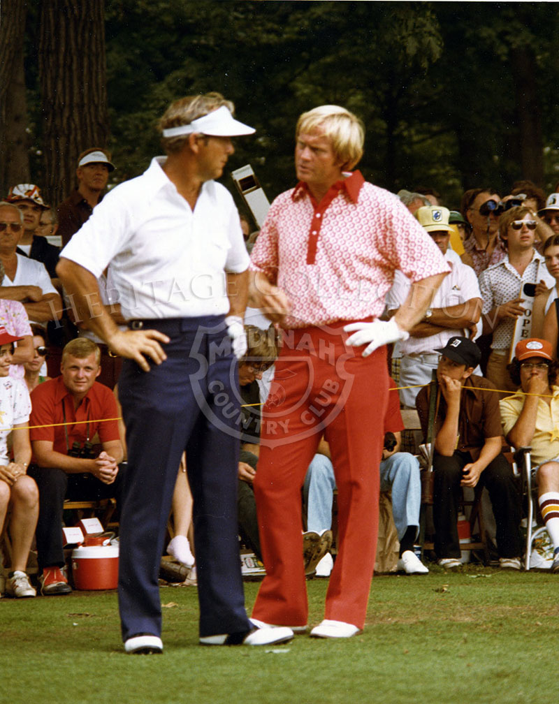 Arnold Palmer (left) is seen in discussion with Jack Nicklaus during the 75th U.S. Open Championship. Nicklaus tied for 7th place and Palmer tied for 9th place.