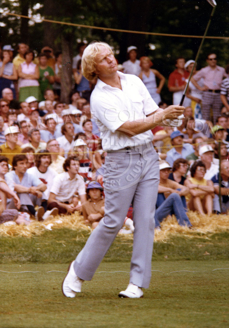 Jack Nicklaus is captured in play during the 75th U.S. Open Championship. Nicklaus tied with Peter Oosterhaus for 7th place.