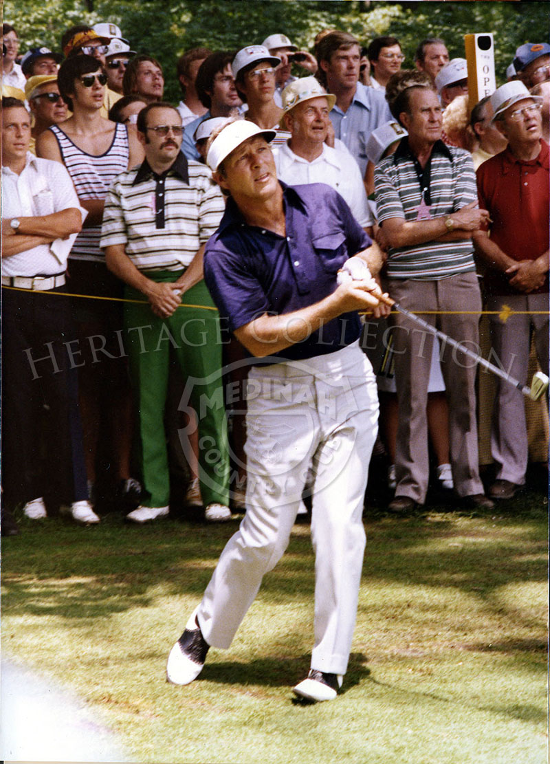 Arnold Palmer is captured in play during the 75th U.S. Open Championship. Palmer tied for 9th place, with Tom Watson and Pat Fitzsimons.