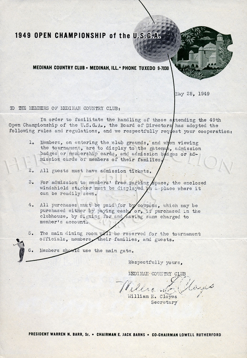 May 28, 1949 letter to Medinah Country Club members from William E. Cloyes, Medinah Secretary, regarding those attending the 49th Open Championship of the U.S.G.A.