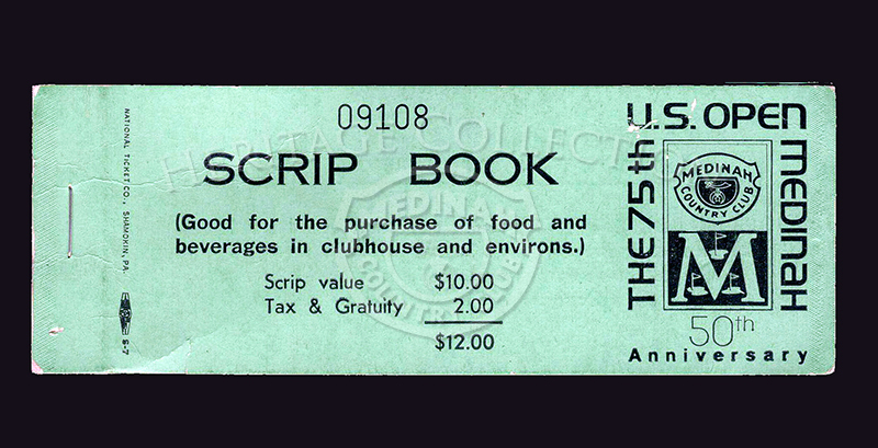 The cover of a Scrip Book from the 75th U.S. Open. Inside cover reads,