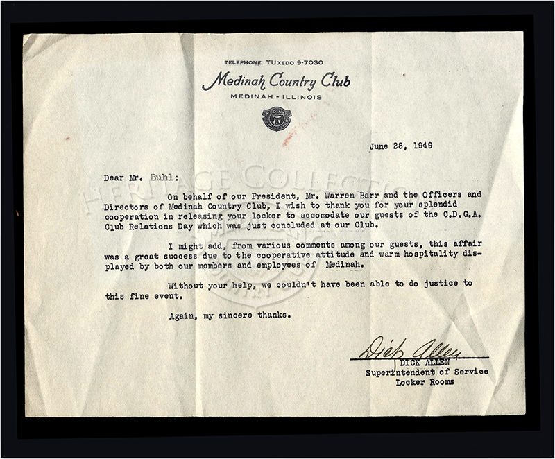 June 28, 1949 letter on Medinah Country Club stationary to member Mr. Buhl. Letter is from Dick Allen, Superintendent of Service Locker Room, thanking Mr. Buhl for releasing his locker to accommodate guests for the CDGA Club Relations Day.