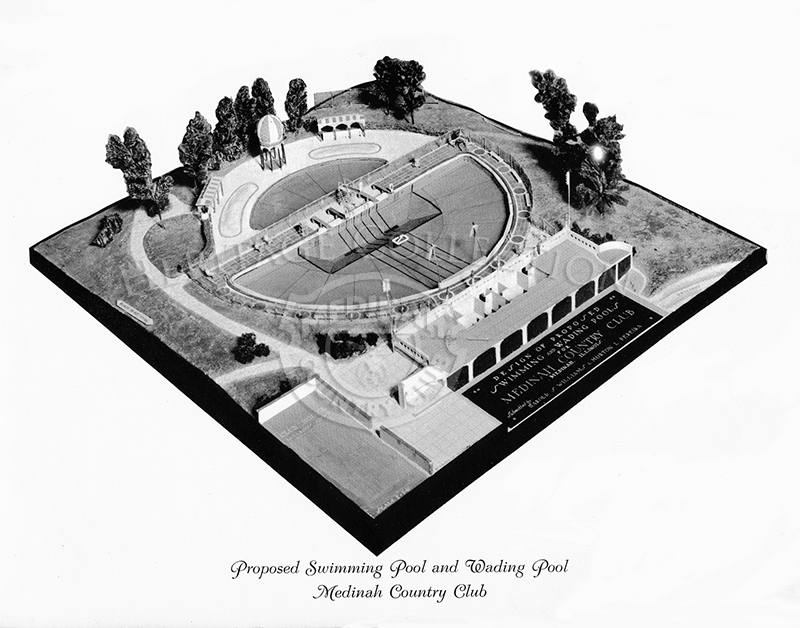 Photo print of a scale model showing the proposed swimming pool and wading pool for Medinah Country Club. The proposed pools were rejected, 79 in favor/70 opposed, at a special membership meeting held March 26, 1936.