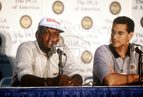 Vijay Singh faces the media following the 81st PGA championship. Singh finished the tournament with a 293, which tied him with four others for 49th-place.