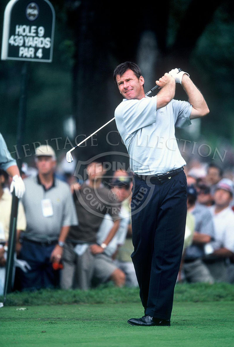English professional golfer Nick Faldo watches one of his putts during the 81st PGA championship. Faldo finished the tournament with a 292, which gave him a tie with seven other players for 41st-place.