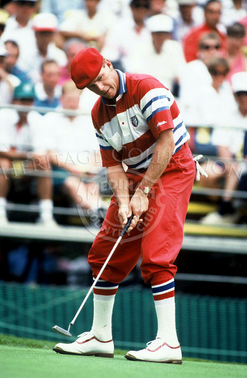 Although one of the top five players on the '90 PGA tour, Payne Stewart could not do better than match par after the First Round of the 90th U.S. Open Championship. He was cut from play after the Second Round. Stewart is seen wearing his signature plus-f