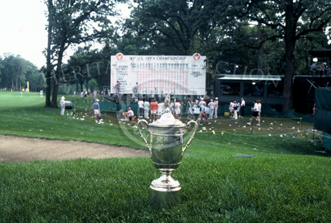 In the foreground is the PGA Trophy, with the Leaderboard standings after the Fourth Round of the 90th U.S. Open in the background. The photo was shot on Father's Day, Sunday, June 17th, 1990.