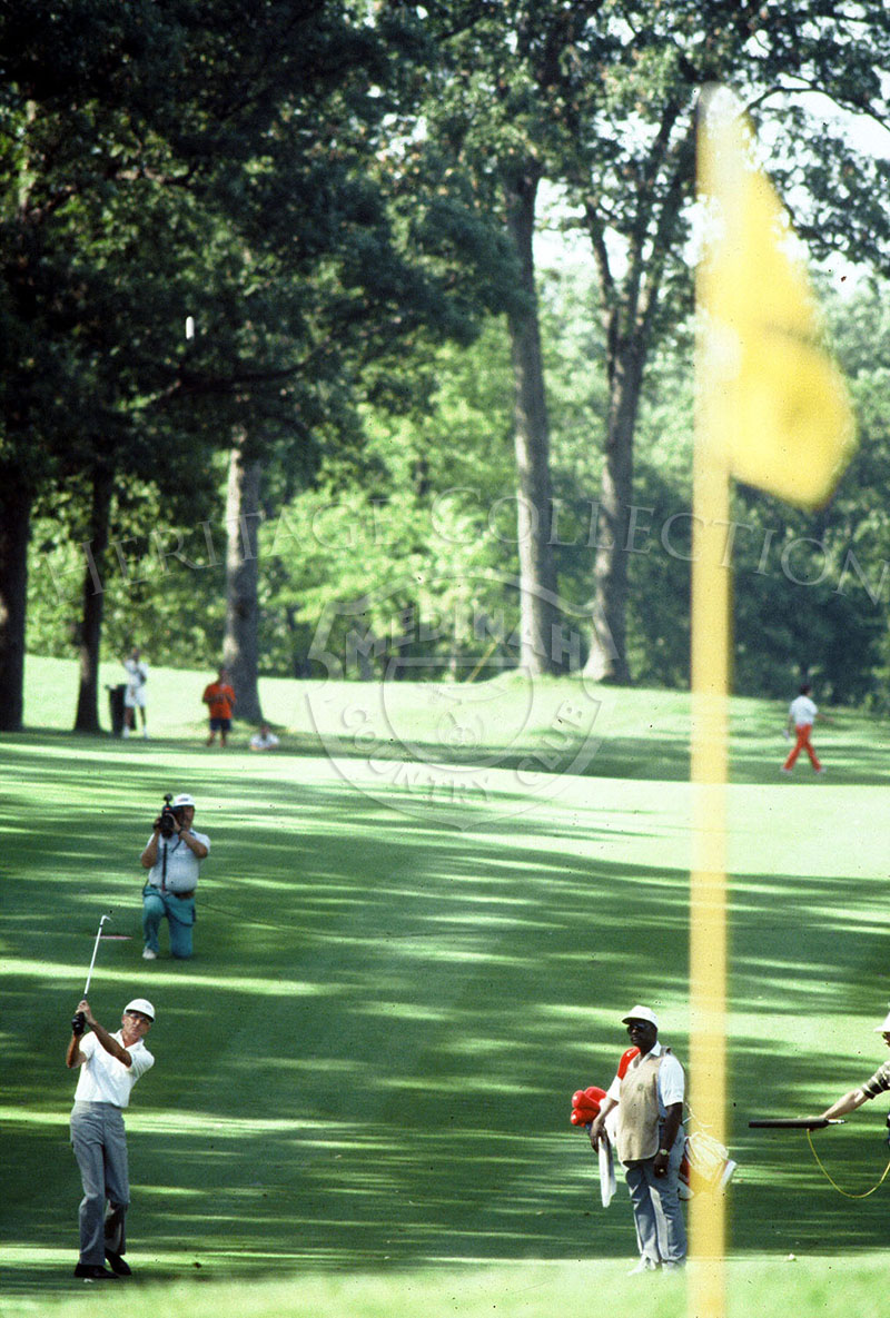 Bob Charles in action during the Ninth U.S. Senior Open Championship. He eventually lost to Gary Player after the 18-hole playoff round on August 9, 1988. Charles did triumph at five senior events that year, and was the leading money winner.
