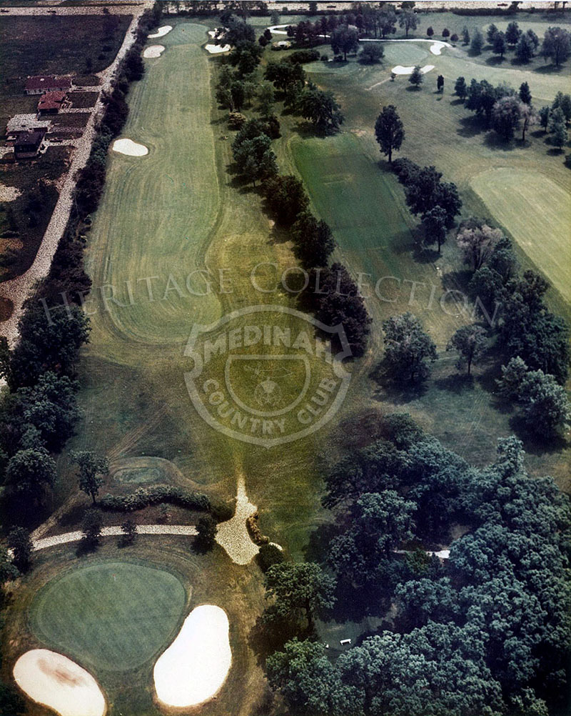1975 Aerial view of Hole 6 of of Course No. 3. Medinah's sixth hole is a 442-yard par-4 which can vary from a drive and 5-iron to two woods according to the wind.