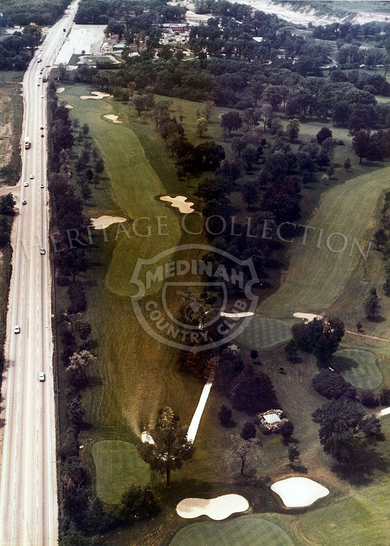 1975 Aerial view of Hole 10 of Course No. 3. The long 583-yard par-5 10th is tight in both the driving area and in front of the green. Only good wedge play will set up birdie possibilities here.