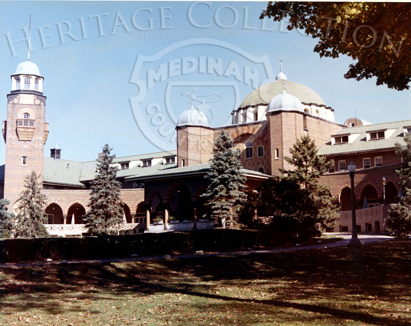 Front view of Medinah Country Club building, including the north tower.