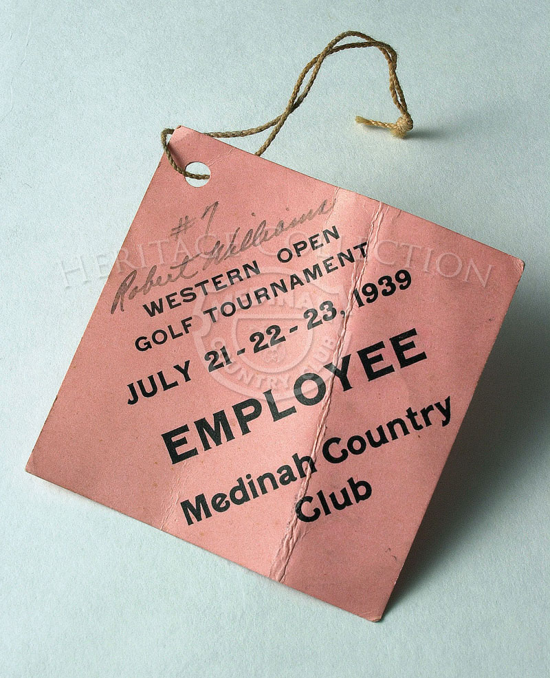 Employee tag #7 Robert Williams for the 40th Western Open, which was held July 21-23, 1939. The tournament was sponsored by the Western Golf Association for the benefit of