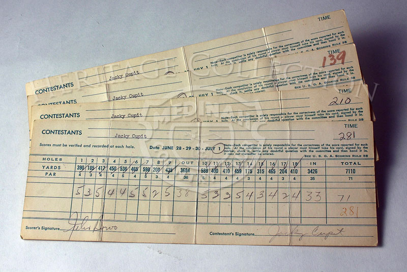 Layout shows the four scorecards for winner Jacky Cupit from the 59th Western Open, held July 1, 1962.