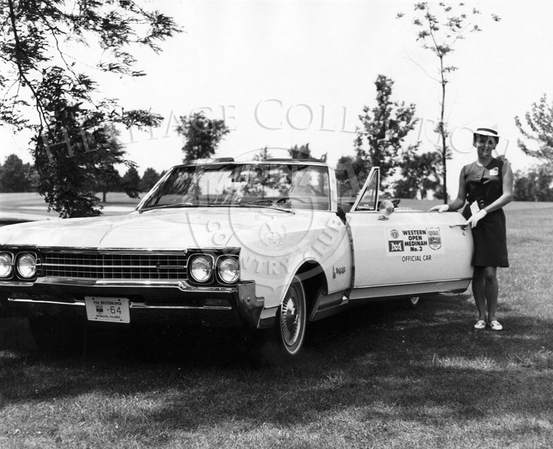 White 1966 Oldsmobile Ninety-Eight convertibles were used as the official car during the 63rd Western Open at Medinah Country Club.