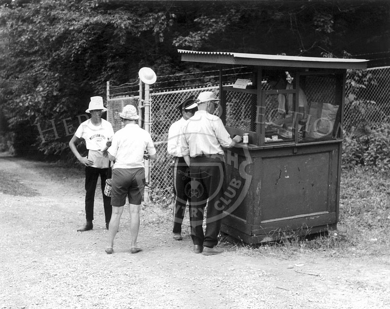 A portable ticket booth is located at one of the entrance gates to Medinah Country Club, during the 63rd Western Open tournament in 1966.