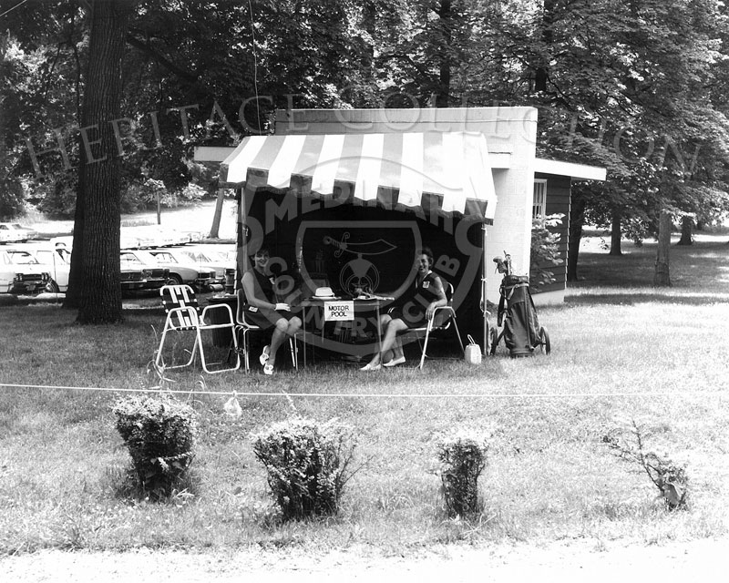 Close-up view of the Motor Pool tent on the grounds of Medinah Country Club during the 63rd Western Open tournament in 1966. Another view is in image 85248.