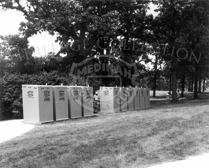 Portable bathrooms, like these pictured, were strategically located around the grounds at Medinah Country Club during the 63rd Western Open in 1966.