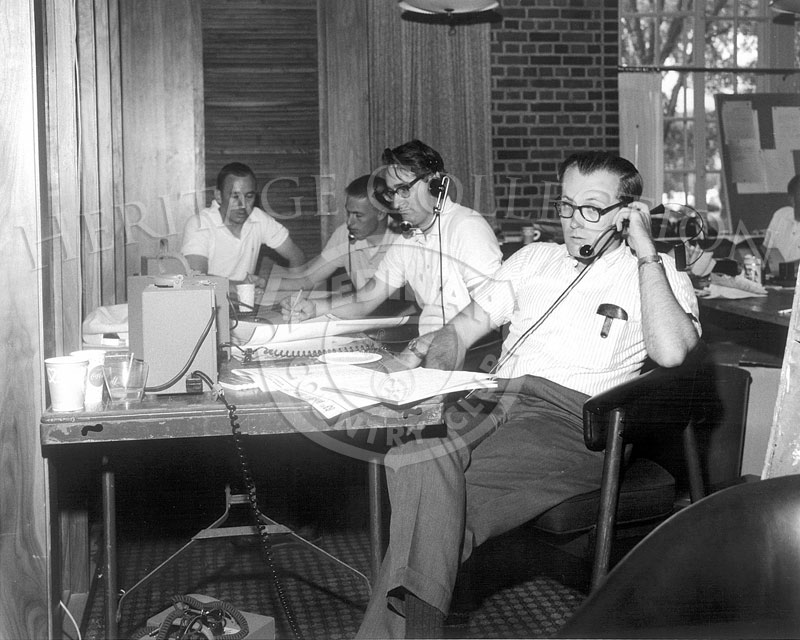Members of the media at work in the Medinah clubhouse during the 63rd Western Open tournament in 1966.