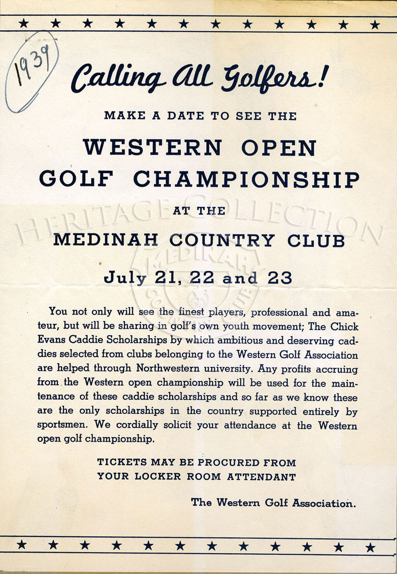 An ad for the 40th Western Open golf tournament played July 21-23, 1939.