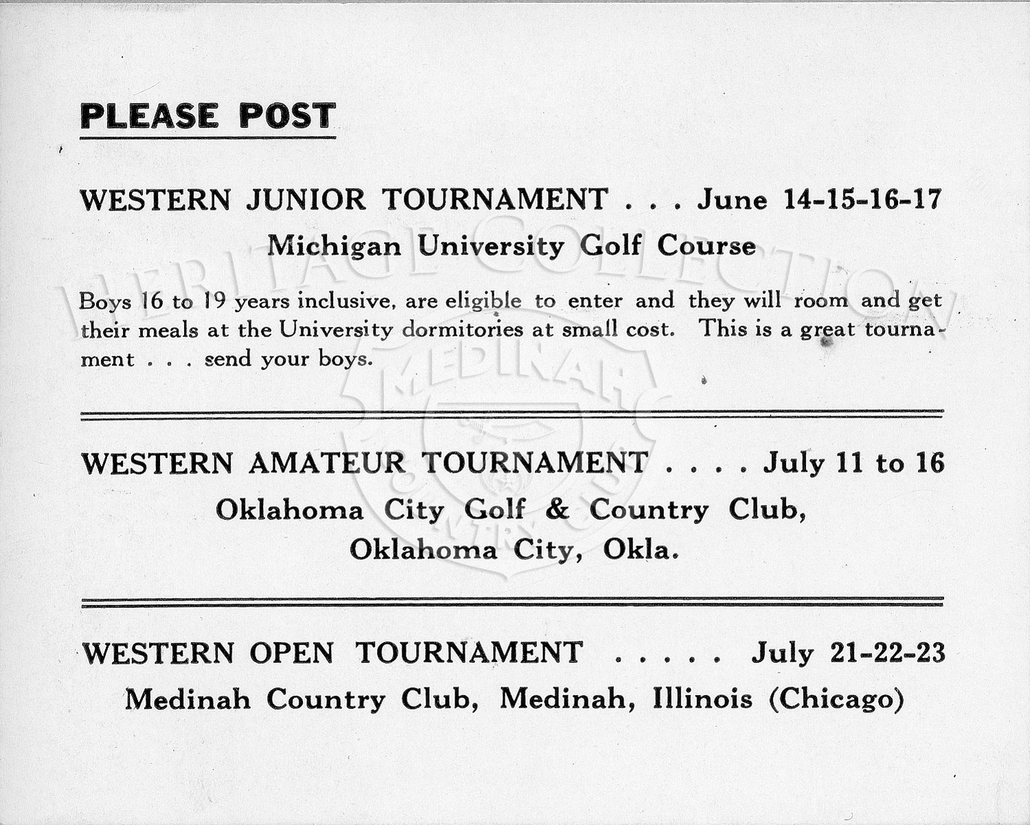 A Western Golf Association advertisement from 1939, listed three of their tournaments scheduled for the month of June and July, including the 40th Western Open at Medinah Country Club.