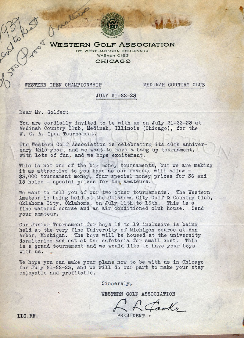 A 40th Western Open tournament invitation letter from the Western Golf Association president Leslie L. Cooke, sent to golfers in 1939.