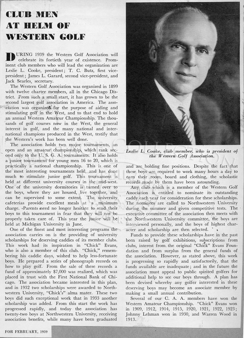 An article from a February 1939 magazine about the Western Golf Association mission and members. Included is a portrait of Leslie L. Cooke, club member and president of the WGA.