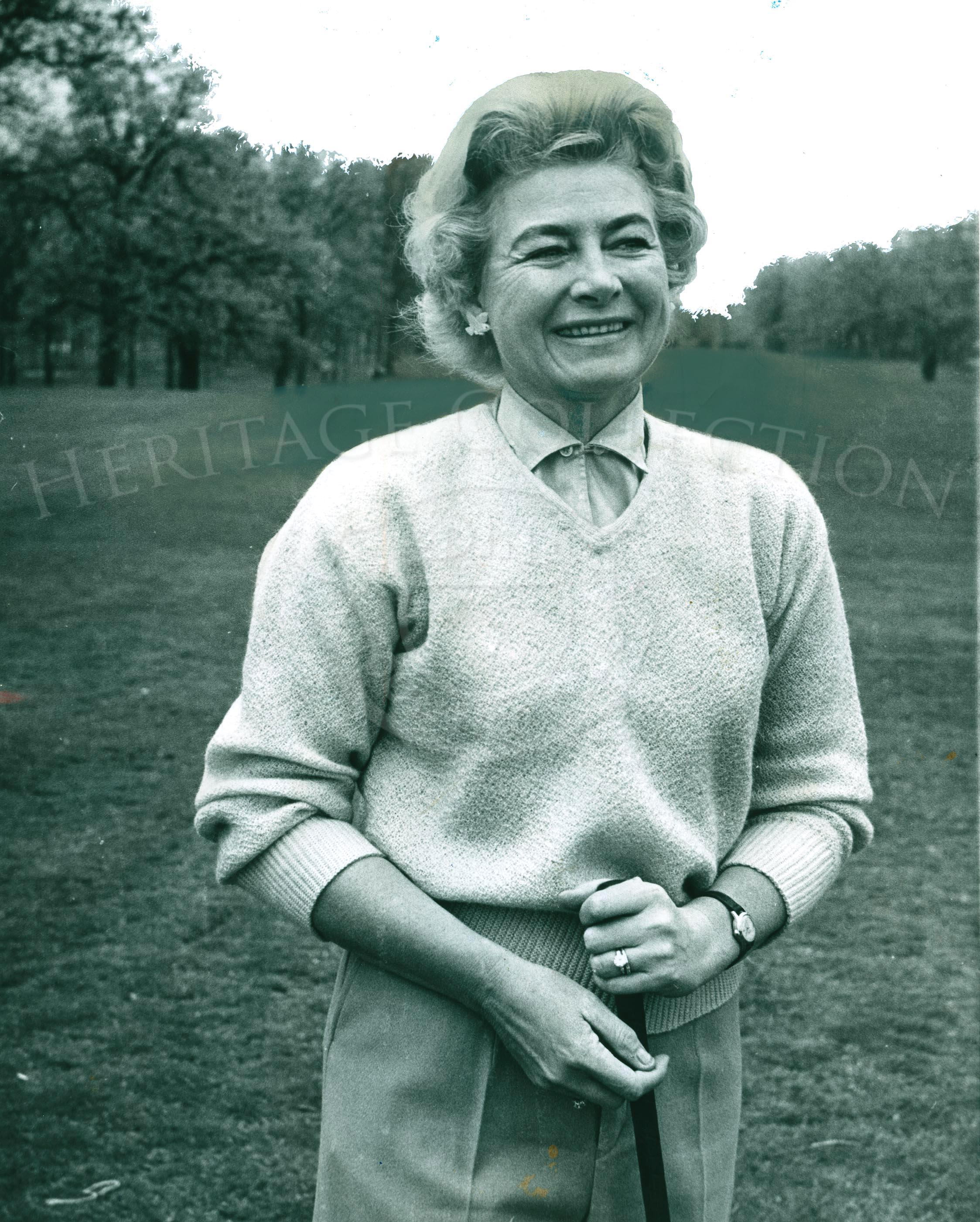 Photo of Adeline Potter, amazing women golfer and swim athlete. Women's Champion 1944. 8 x 10 Black and White, sky is whited out.