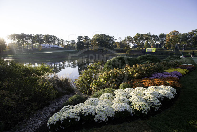 18th Tee box with flowers at sunrise Saturday morning before the matches.