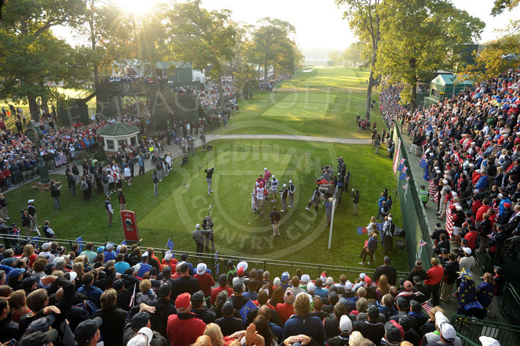 Scene from the first tee early Saturday morning, 2nd day of Ryder Cup matches.