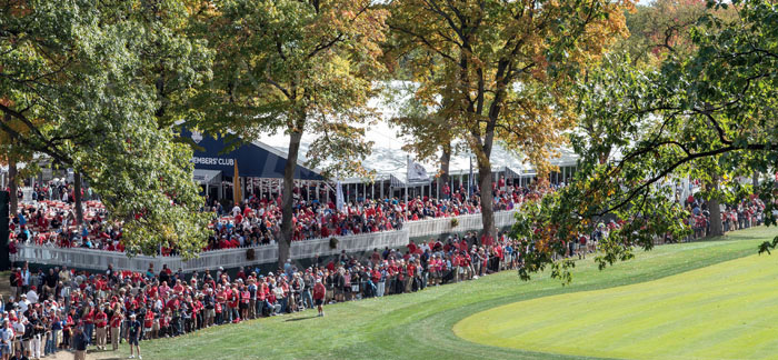 Members Club tent and outdoor pavilion crowds during the 2012 Ryder Cup