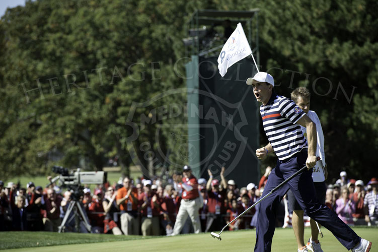 Keegan Bradley cheers as he makes his birdie putt on the 8th hole during his Sunday match.