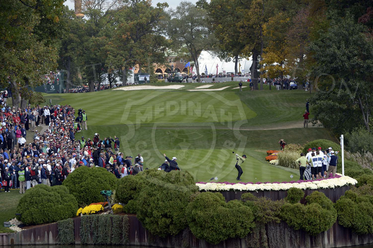 McIlroy on the 18th tee during Friday's matches. Image shot from the 17th tee box.