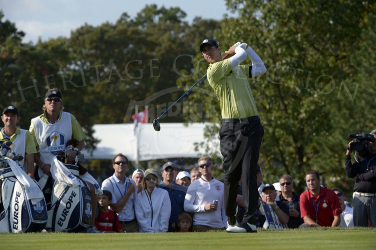 Colsaerts hits his tee shot on the par 4 9th hole during Friday's matches.