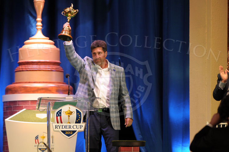 Olazabal raises the Ryder Cup at the Closing Ceremonies, giving tribute to his players and the late Seve Ballesteros