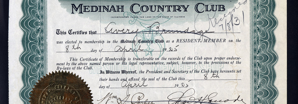 An old club membership document from Medinah Country Club