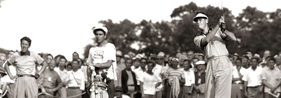 A crowd looks on during the 1949 U.S. Open at Medinah Country Club